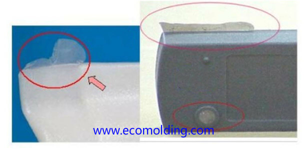 Flash injection molding defects