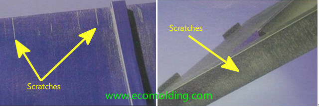 scratches scrape marks injection molding defects